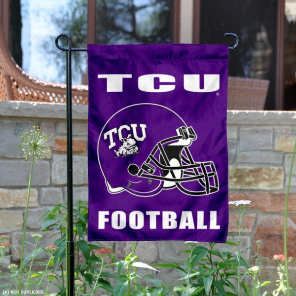 Texas Christian University Football Helmet Garden Banner is 13x18 inches in size, is made of 2-layer polyester, screen printed TCU athletic logos and lettering. Available with Same Day Express Shipping, Our Texas Christian University Football Helmet Garden Banner is officially licensed and approved by TCU and the NCAA.