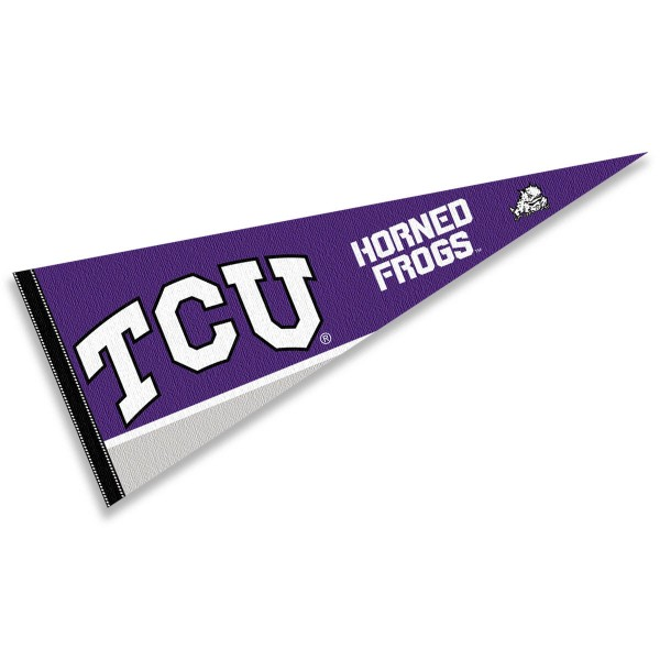 Texas Christian University Pennant consists of our full size pennant which measures 12x30 inches, is constructed of felt, is single sided imprinted, and offers a pennant sleeve for insertion of a pennant stick, if desired. This Texas Christian University Pennant is officially licensed by the selected university and the NCAA