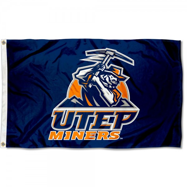 Texas El Paso Miners Blue Flag measures 3x5 feet, is made of 100% polyester, offers quadruple stitched flyends, has two metal grommets, and offers screen printed NCAA team logos and insignias. Our Texas El Paso Miners Blue Flag is officially licensed by the selected university and NCAA.