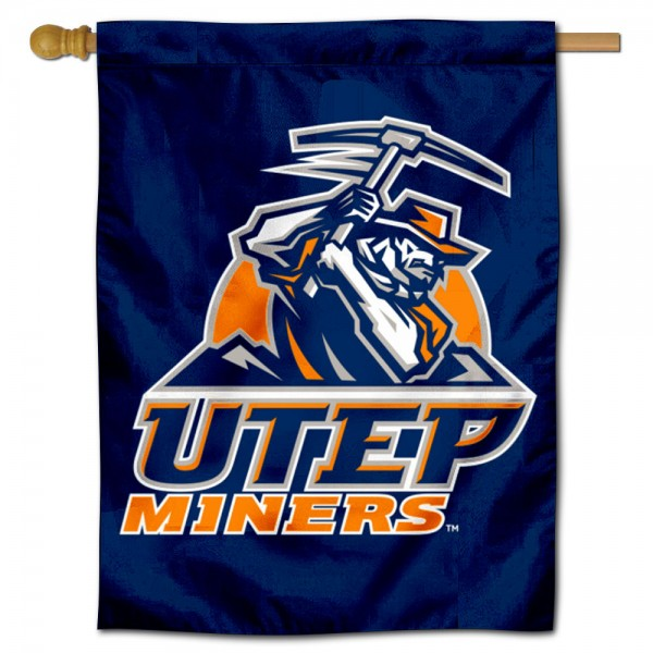 Texas El Paso Miners Double Sided House Flag is a vertical house flag which measures 30x40 inches, is made of 2 ply 100% polyester, offers screen printed NCAA team insignias, and has a top pole sleeve to hang vertically. Our Texas El Paso Miners Double Sided House Flag is officially licensed by the selected university and the NCAA.