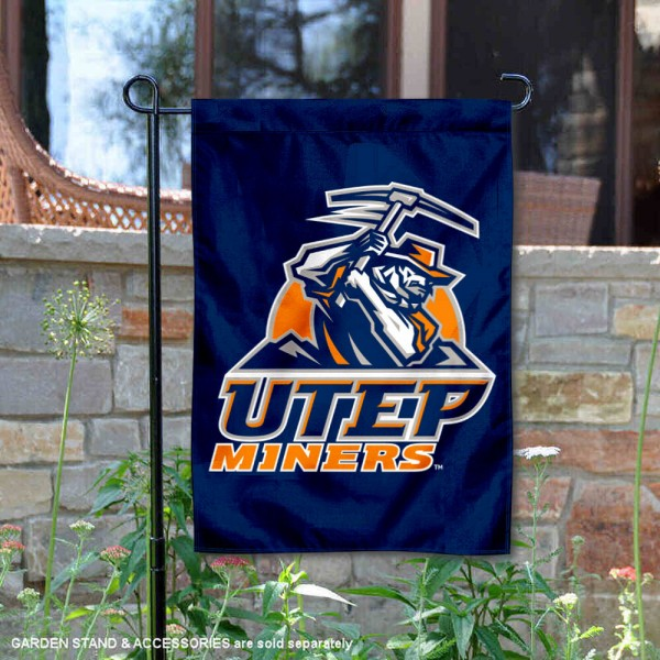 Texas El Paso Miners Navy Garden Flag is 13x18 inches in size, is made of 2-layer polyester, screen printed university athletic logos and lettering, and is readable and viewable correctly on both sides. Available same day shipping, our Texas El Paso Miners Navy Garden Flag is officially licensed and approved by the university and the NCAA.