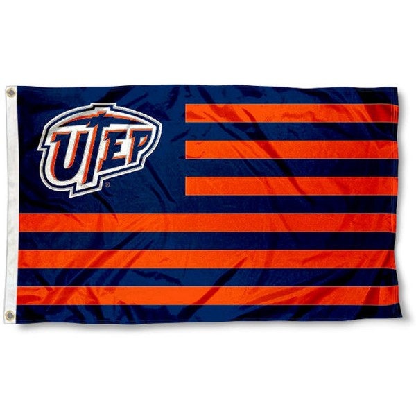 Texas El Paso Miners Stripes Flag measures 3'x5', is made of polyester, offers double stitched flyends for durability, has two metal grommets, and is viewable from both sides with a reverse image on the opposite side. Our Texas El Paso Miners Stripes Flag is officially licensed by the selected school university and the NCAA.