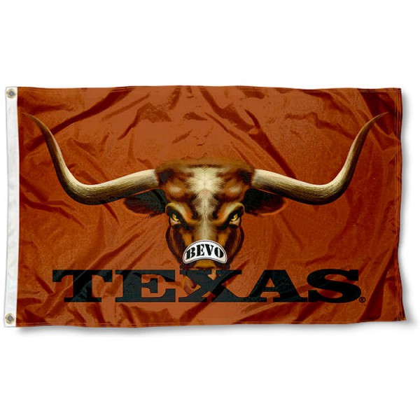 Texas Longhorn Bevo Eye Flag measures 3'x5', is made of 100% poly, has quadruple stitched sewing, two metal grommets, and has double sided Team University logos. Our Texas Longhorns 3x5 Flag is officially licensed by the selected university and the NCAA.