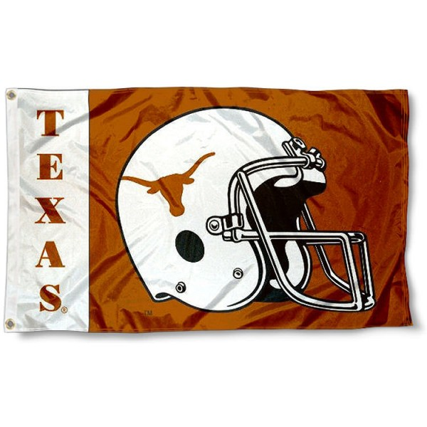 Texas Longhorn Football Flag measures 3'x5', is made of 100% poly, has quadruple stitched sewing, two metal grommets, and has double sided Texas Longhorn logos. Our Texas Longhorn Football Flag is officially licensed by the selected university and the NCAA.
