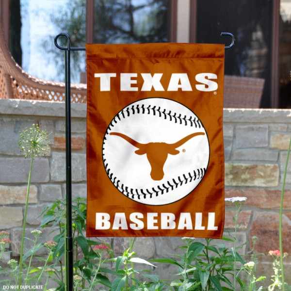 Texas Longhorns Baseball Team Garden Flag is 13x18 inches in size, is made of 2-layer polyester, screen printed University of Texas Baseball athletic logos and lettering. Available with Express Shipping, Our Texas Longhorns Baseball Team Garden Flag is officially licensed and approved by University of Texas Baseball and the NCAA.
