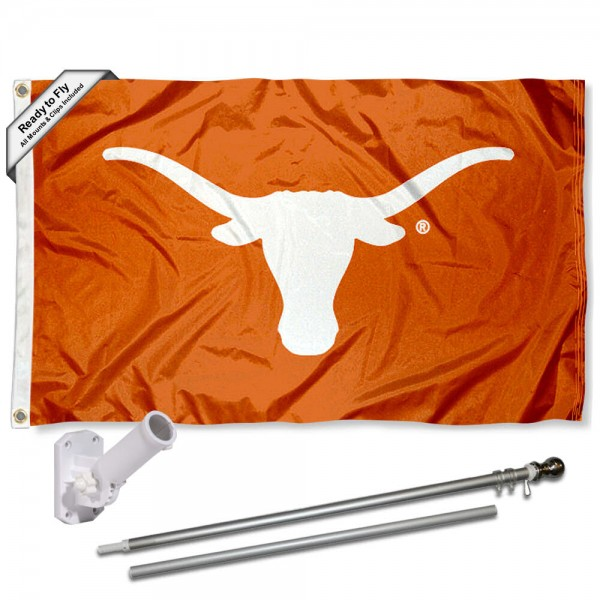 Our Texas Longhorns Bevo Flag Pole and Bracket Kit includes the flag as shown and the recommended flagpole and flag bracket. The flag is made of polyester, has quad-stitched flyends, and the NCAA Licensed team logos are double sided screen printed. The flagpole and bracket are made of rust proof aluminum and includes all hardware so this kit is ready to install and fly.