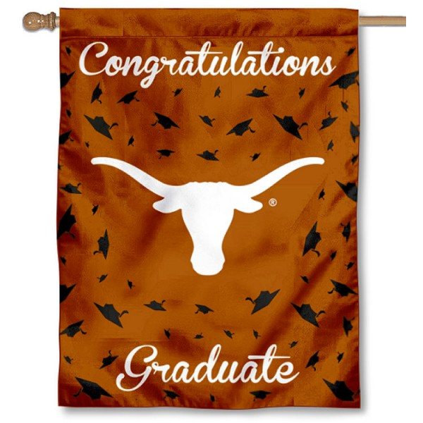 Texas Longhorns Congratulations Graduate Flag measures 30x40 inches, is made of poly, has a top hanging sleeve, and offers dye sublimated Texas Longhorns logos. This Decorative Texas Longhorns Congratulations Graduate House Flag is officially licensed by the NCAA.