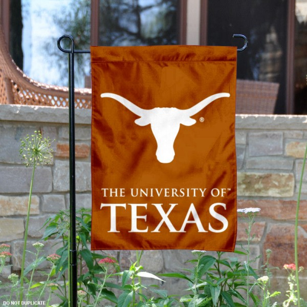 Texas Longhorns Double Sided Garden Flag is 13x18 inches in size, is made of 2-layer polyester, screen printed university athletic logos and lettering, and is readable and viewable correctly on both sides. Available same day shipping, our Texas Longhorns Double Sided Garden Flag is officially licensed and approved by the university and the NCAA.