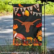 Texas Longhorns Fall Football Autumn Leaves Decorative Garden Flag