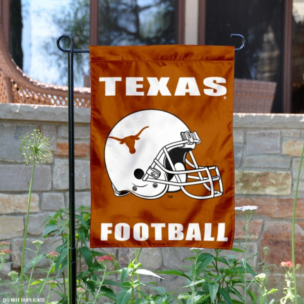 Texas Longhorns Football Helmet Garden Banner is 13x18 inches in size, is made of 2-layer polyester, screen printed University of Texas athletic logos and lettering. Available with Same Day Express Shipping, Our Texas Longhorns Football Helmet Garden Banner is officially licensed and approved by University of Texas and the NCAA.