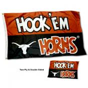 Texas Longhorns Hook Em Horns Double Sided Flag