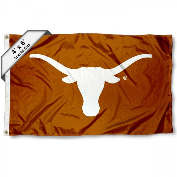 Texas Longhorns Large 4x6 Flag measures 4x6 feet, is made thick woven polyester, has quadruple stitched flyends, two metal grommets, and offers screen printed NCAA Texas Longhorns Large athletic logos and insignias. Our Texas Longhorns Large 4x6 Flag is officially licensed by Texas Longhorns and the NCAA.
