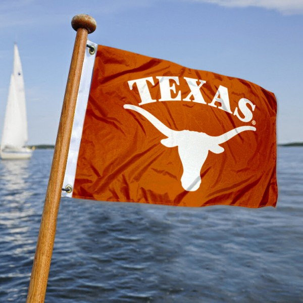 Texas Longhorns Nautical Flag measures 12x18 inches, is made of two-ply polyesters, offers quadruple stitched flyends for durability, has two metal grommets, and is viewable from both sides. Our Texas Longhorns Nautical Flag is officially licensed by the selected university and the NCAA and can be used as a motorcycle flag, golf cart flag, or ATV flag