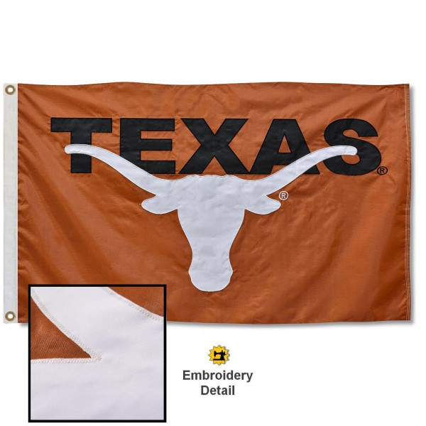 Texas Longhorns Nylon Embroidered Flag measures 3'x5', is made of 100% nylon, has quadruple flyends, two metal grommets, and has double sided appliqued and embroidered University logos. These Texas Longhorns 3x5 Flags are officially licensed by the selected university and the NCAA.