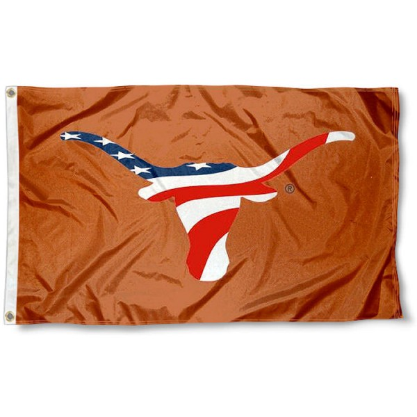 Texas Longhorns Patriotic Flag measures 3'x5', is made of 100% poly, has quadruple stitched sewing, two metal grommets, and has double sided Team University logos. Our UT Longhorns USA Flag Waving is officially licensed by the selected university and the NCAA.