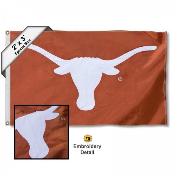 Texas Longhorns Small 2'x3' Flag measures 2x3 feet, is made of 100% nylon, offers quadruple stitched flyends, has two brass grommets, and offers embroidered UT Longhorn logos and insignias. Our Texas Longhorns Small 2'x3' Flag is officially licensed by the selected university.