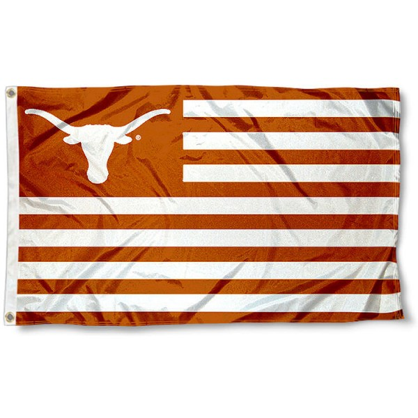 Texas Longhorns Striped Flag measures 3'x5', is made of polyester, offers quadruple stitched flyends for durability, has two metal grommets, and is viewable from both sides with a reverse image on the opposite side. Our Texas Longhorns Striped Flag is officially licensed by the selected school university and the NCAA