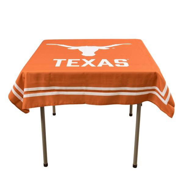Texas Longhorns Table Cloth measures 48 x 48 inches, is made of 100% Polyester, seamless one-piece construction, and is perfect for any tailgating table, card table, or wedding table overlay. Each includes Officially Licensed Logos and Insignias.