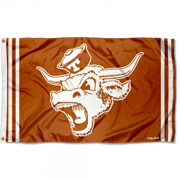 Texas Longhorns Throwback Vault Logo Flag measures 3x5 feet, is made of 100% polyester, offers quadruple stitched flyends, has two metal grommets, and offers screen printed NCAA team logos and insignias. Our Texas Longhorns Throwback Vault Logo Flag is officially licensed by the selected university and NCAA.