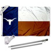 Texas Longhorns TX State Flag Pole and Bracket Kit