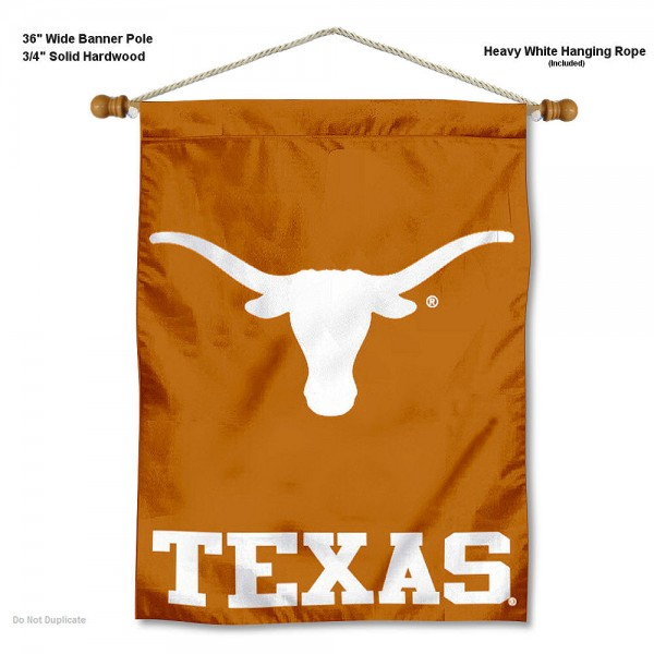 "Texas Longhorns Wall Banner is constructed of polyester material, measures a large 30""x40"", offers screen printed athletic logos, and includes a sturdy 3/4"" diameter and 36"" wide banner pole and hanging cord. Our Texas Longhorns Wall Banner is Officially Licensed by the selected college and NCAA."