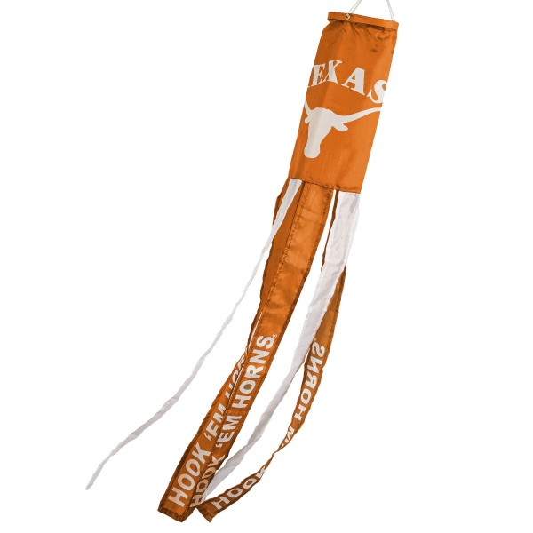 """Texas Longhorns Windsock measures 40"""" in length by 5"""" in width, is made of 100% polyester, offers screen printed NCAA team logos, team names and insignias, has 6 alternative colored streamers and tails, includes a double stringed bridle and hanging swivel clip, and our Texas Longhorns Windsock is authentic, licensed, and approved by the selected university or team."""