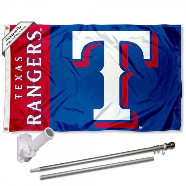 Our Texas Rangers Flag Pole and Bracket Kit includes the flag as shown and the recommended flagpole and flag bracket. The flag is made of polyester, has quad-stitched flyends, and the MLB Licensed team logos are double sided screen printed. The flagpole and bracket are made of rust proof aluminum and includes all hardware so this kit is ready to install and fly.