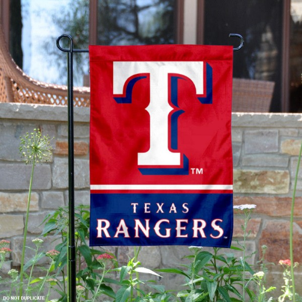 Texas Rangers Garden Flag is 12.5x18 inches in size, is made of 2-ply polyester, and has two sided screen printed logos and lettering. Available with Express Next Day Shipping, our Texas Rangers Garden Flag is MLB Genuine Merchandise and is double sided.