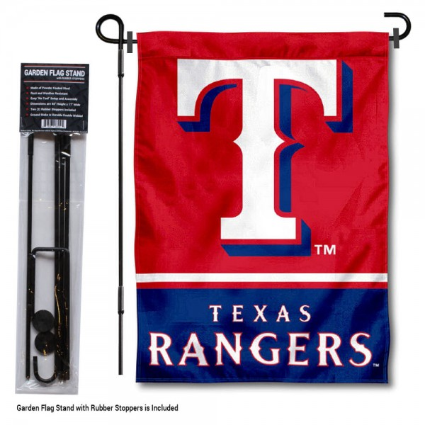 "Texas Rangers Logo Garden Flag and Stand kit includes our 13""x18"" garden banner which is made of 2 ply poly with liner and has screen printed licensed logos. Also, a 40""x17"" inch garden flag stand is included so your Texas Rangers Logo Garden Flag and Stand is ready to be displayed with no tools needed for setup. Fast Overnight Shipping is offered and the flag is Officially Licensed and Approved by the selected team."