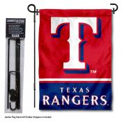Texas Rangers Logo Garden Flag and Stand