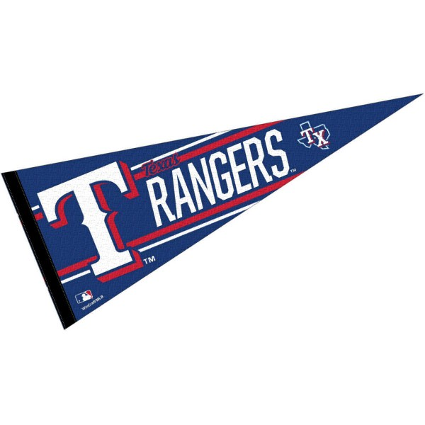 This Texas Rangers Pennant measures 12x30 inches, is constructed of felt, and is single sided screen printed with the Texas Rangers logo and insignia. Each Texas Rangers Pennant is a MLB Genuine Merchandise product.