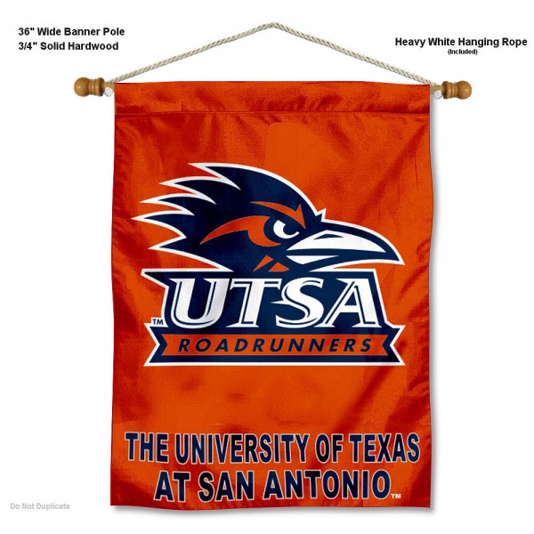 """Texas San Antonio Roadrunners Wall Banner is constructed of polyester material, measures a large 30""""x40"""", offers screen printed athletic logos, and includes a sturdy 3/4"""" diameter and 36"""" wide banner pole and hanging cord. Our Texas San Antonio Roadrunners Wall Banner is Officially Licensed by the selected college and NCAA."""