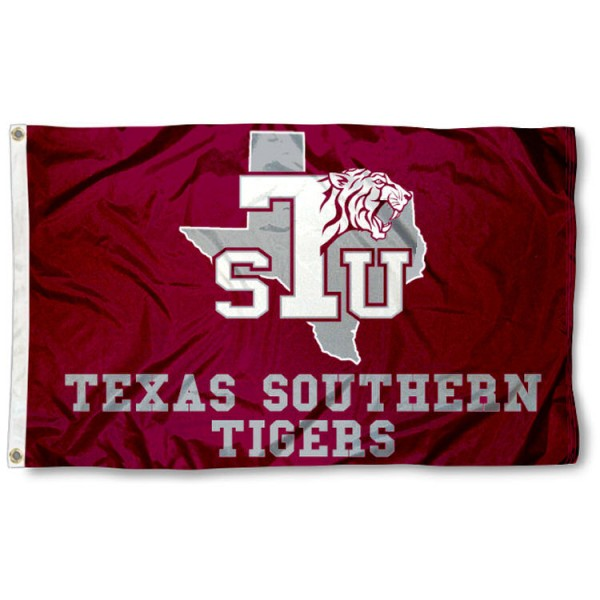 This Texas Southern University Flag measures 3'x5', is made of 100% nylon, has quad-stitched sewn flyends, and has two-sided Texas Southern University printed logos. Our Texas Southern University Flag is officially licensed and all flags for Texas Southern University are approved by the NCAA and Same Day UPS Express Shipping is available.