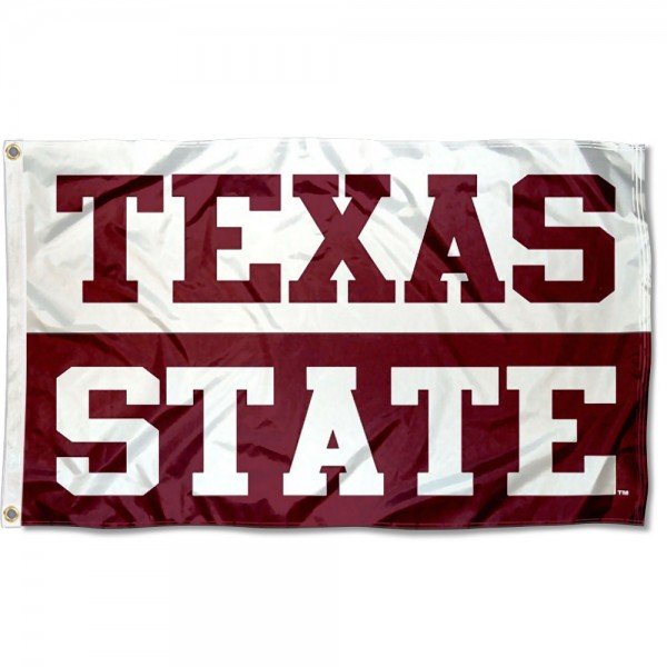 Texas State Bobcats Flag measures 3x5 feet, is made of 100% polyester, offers quadruple stitched flyends, has two metal grommets, and offers screen printed NCAA team logos and insignias. Our Texas State Bobcats Flag is officially licensed by the selected university and NCAA.