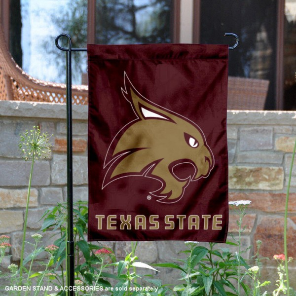 Texas State Bobcats Garden Flag is 13x18 inches in size, is made of 2-layer polyester, screen printed university athletic logos and lettering. Available with Same Day Express Shipping, our Texas State Bobcats Garden Flag is officially licensed and approved by the university and the NCAA.