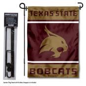 Texas State Bobcats Garden Flag and Pole Stand Holder