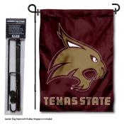 Texas State Bobcats Garden Flag and Pole Stand Mount