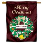 Texas State Bobcats Happy Holidays Banner Flag
