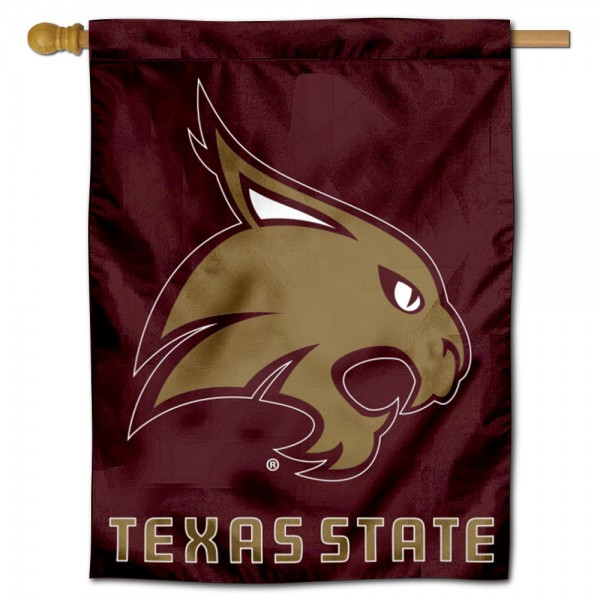 Texas State Bobcats New Logo Double Sided House Flag is a vertical house flag which measures 30x40 inches, is made of 2 ply 100% polyester, offers screen printed NCAA team insignias, and has a top pole sleeve to hang vertically. Our Texas State Bobcats New Logo Double Sided House Flag is officially licensed by the selected university and the NCAA.