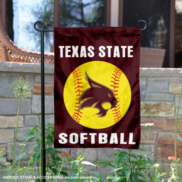 Texas State Bobcats Softball Garden Flag and Yard Banner is 13x18 inches in size, is made of 2-layer double sided with liner polyester, screen printed Texas State Bobcats athletic logos and lettering. Available with Same Day Express Shipping, Our Texas State Bobcats Softball Garden Flag and Yard Banner is officially licensed and approved by Texas State Bobcats and the NCAA.