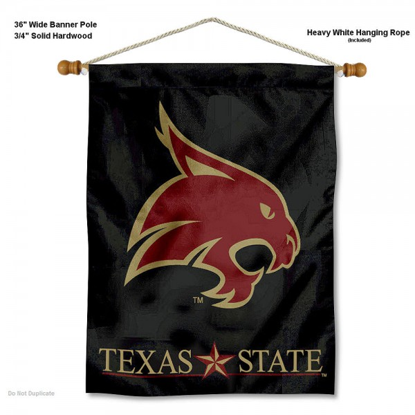 "Texas State Bobcats Wall Banner is constructed of polyester material, measures a large 30""x40"", offers screen printed athletic logos, and includes a sturdy 3/4"" diameter and 36"" wide banner pole and hanging cord. Our Texas State Bobcats Wall Banner is Officially Licensed by the selected college and NCAA."