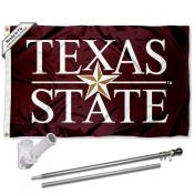 Texas State Bobcats Wordmark Flag Pole and Bracket Kit