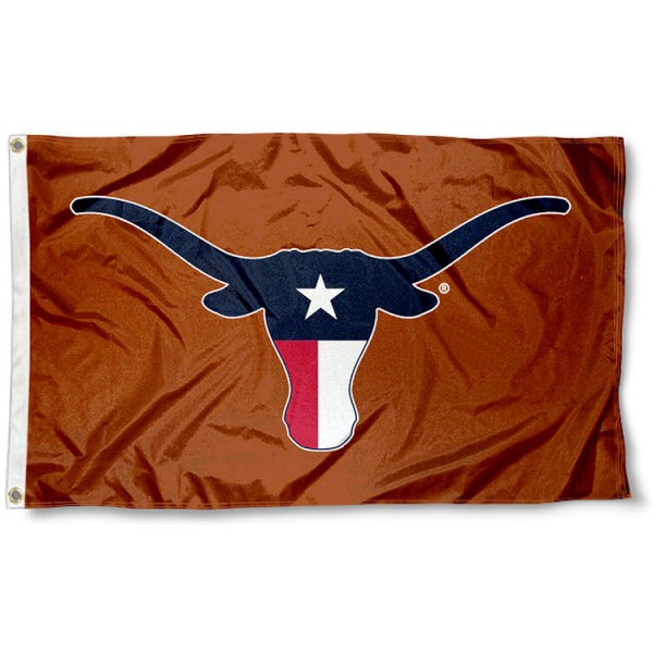Texas State Colors Longhorns Flag measures 3x5 feet, is made of 100% polyester, offers quadruple stitched flyends, has two metal grommets, and offers screen printed NCAA team logos and insignias. Our Texas State Colors Longhorns Flag is officially licensed by the selected university and NCAA