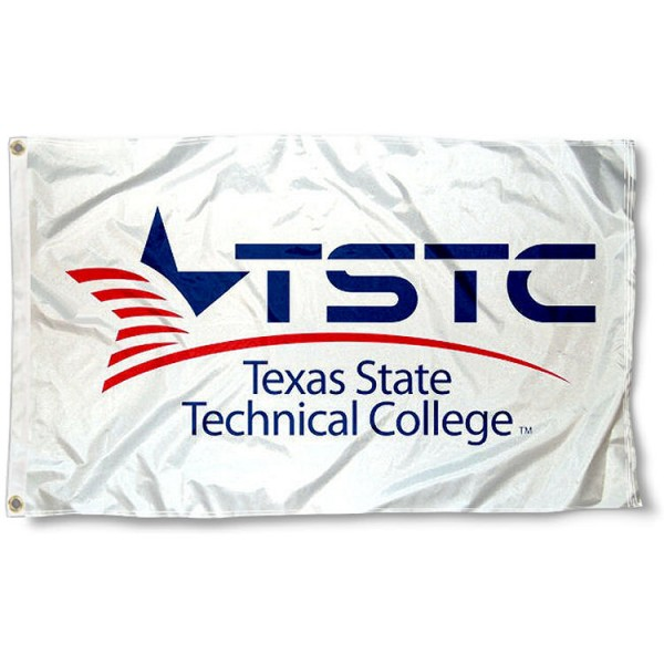 Texas State Tech TSTC Wordmark Flag measures 3x5 feet, is made of 100% polyester, offers quadruple stitched flyends, has two metal grommets, and offers screen printed NCAA team logos and insignias. Our Texas State Tech TSTC Wordmark Flag is officially licensed by the selected university and NCAA.