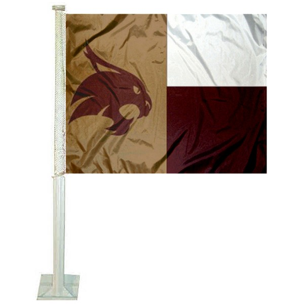 Texas State University Car Window Flag measures 12x15 inches, is constructed of sturdy 2 ply polyester, and has screen printed school logos which are readable and viewable correctly on both sides. Texas State University Car Window Flag is officially licensed by the NCAA and selected university.