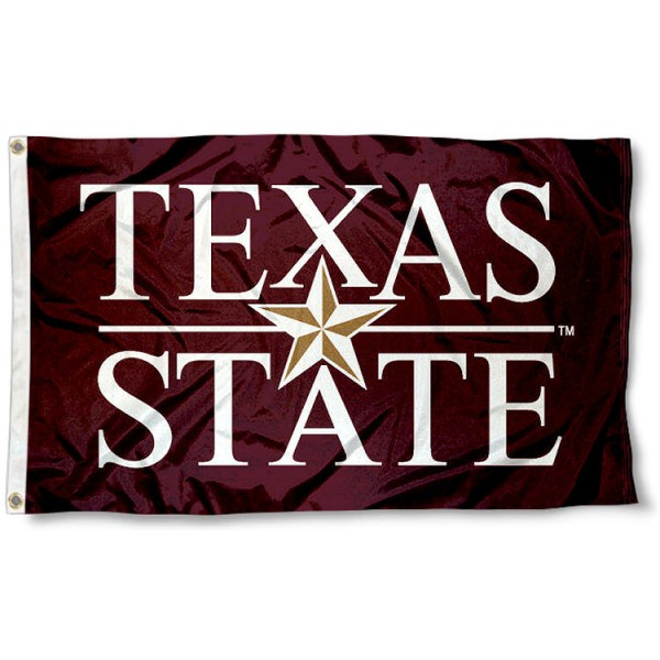 Texas State University Script Flag measures 3'x5', is made of 100% poly, has quadruple stitched sewing, two metal grommets, and has double sided Texas State University Script logos. Our Texas State University Script Flag is officially licensed by the selected university and the NCAA.