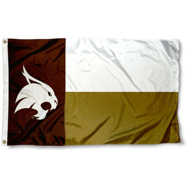 Texas State University State Flag measures 3'x5', is made of 100% poly, has quadruple stitched sewing, two metal grommets, and has double sided Texas State University logos. Our Texas State University State Flag is officially licensed by the selected university and the NCAA