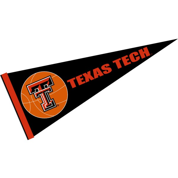 Texas Tech Basketball Pennant consists of our full size sports pennant which measures 12x30 inches, is constructed of felt, is single sided imprinted, and offers a pennant sleeve for insertion of a pennant stick, if desired. This Texas Tech Pennant Decorations is Officially Licensed by the selected university and the NCAA.