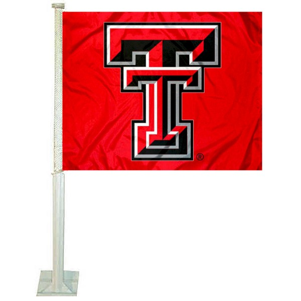 Texas Tech Car Window Flag measures 12x15 inches, is constructed of sturdy 2 ply polyester, and has screen printed school logos which are readable and viewable correctly on both sides. Texas Tech Car Window Flag is officially licensed by the NCAA and selected university.