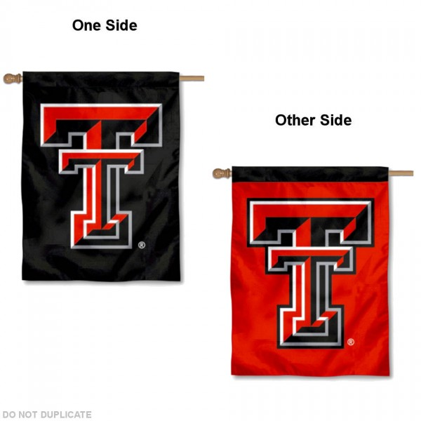 Texas Tech Double Sided House Flag is a vertical house flag which measures 30x40 inches, is made of 2 ply 100% polyester, offers screen printed NCAA team insignias, and has a top pole sleeve to hang vertically. Our Texas Tech Double Sided House Flag is officially licensed by the selected university and the NCAA.